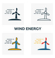 wind energy icon set four elements in different vector image vector image