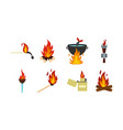 fire icon set flat style vector image