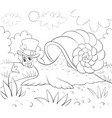 a children coloring bookpage a cute snail wearing vector image vector image