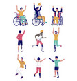 active disabled people flat isolated vector image