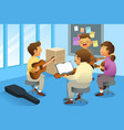 adults in a guitar class vector image vector image