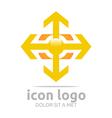 arrow plus yellow design symbol abstract vector image