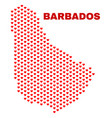 barbados map - mosaic of love hearts vector image vector image