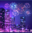 big city fireworks composition vector image