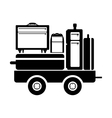 black silhouette freight car for baggage vector image