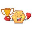boxing winner hexagon mascot cartoon style vector image vector image