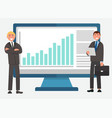 business report rising graph office worker vector image