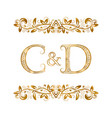 c and d vintage initials logo symbol letters c vector image vector image