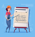 cartoon female builder explain plan of building vector image vector image