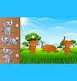 cartoon happy elephants collection find the corre vector image