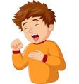cartoon little boy coughing on white background vector image vector image