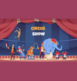circus show cartoon poster with clown and acrobat vector image