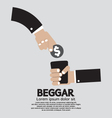Coin Donated To The Beggar vector image vector image
