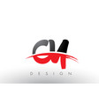 cy c y brush logo letters with red and black vector image vector image