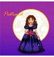 doll princess in blue evening dress vector image vector image