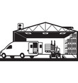 forklift loading cargo van with pallets in warehou vector image