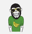 funny smiling monkey vector image vector image