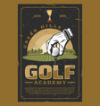 golf professional sport retro poster vector image vector image