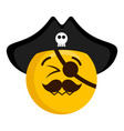 happy pirate emoji with a hat vector image vector image