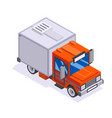 isometric automobile van transportation delivery vector image vector image