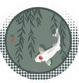 Koi carp and willow branches vector image vector image