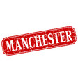 manchester red square grunge retro style sign vector image vector image