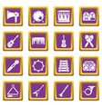 musical instruments icons set purple square vector image vector image
