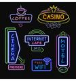 Neon Signboards Realistic Night Icons Collection vector image