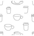one line art style cup coffee seamless pattern vector image