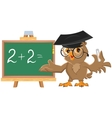 Owl teacher leads math lesson vector image vector image