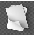 Paper sheets mockup on transparent background vector image