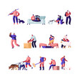 people with pets and domestic animals set vector image