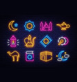 ramadan kareem icon collection in neon style vector image