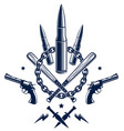 revolution and war emblem with bullets and guns vector image vector image