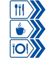 road food sign with arrow vector image vector image