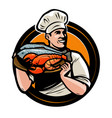 seafood logo or label chef with tray food vector image