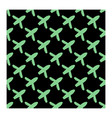 seamless airplane pattern in green color flat vector image