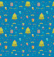 seamless pattern with christmas tree gifts vector image vector image