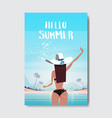 sexy woman raise hand up sunny beach booty bare vector image vector image