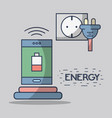 smartphone with battery low and energy cable vector image vector image