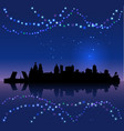 st petersburg silhouete and chritsmas lights vector image vector image