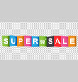 super sale tag discount message flat on white vector image vector image