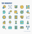 time management thin line icons set vector image vector image