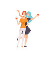 two beautiful women friends drinking wine girls vector image vector image