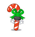 virtual reality candy cane character shaped a vector image vector image