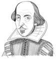 william shakespeare portrait in line art vector image vector image