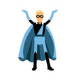 young smiling masked man in a blue superhero vector image vector image