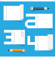 Empty White Paper Sheet with Stickers and Pencils vector image