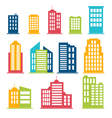 Building icons set in color vector image