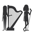 women singing and playing harp vector image